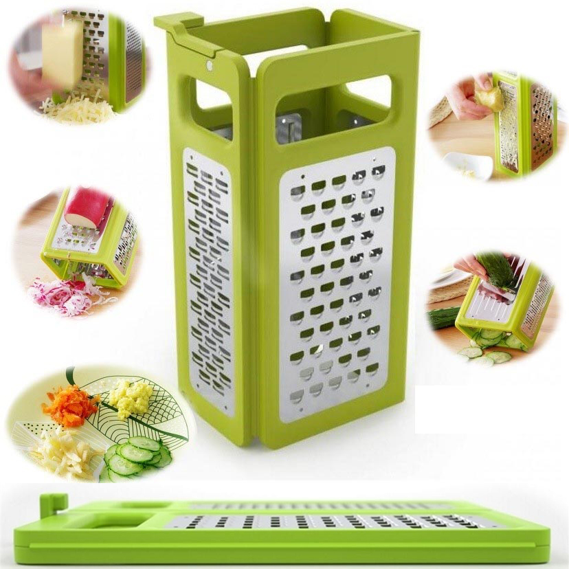 Kitchen Gadgets 4 In 1 Folding Box Grater Device Shredded Cheese Slicer Flat Coarse Fine Ribbon