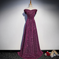 New Arrival Bridal Gown Zipper Back Sequined Boat Neck Cap Sleeves Long Evening Dress Party Fashion Vestido De Fest Prom Gowns