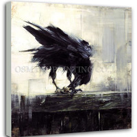 Professional Artist Hand painted High Quality Abstract Crow Eating Oil Painting Abstract Black Art Picture for Living Room