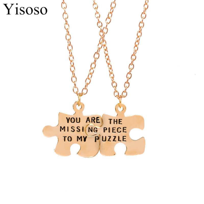 Yisoso 2pcs/set English letters you are the missing piece to my puzzle necklace to Best Friends and lovers XL048 image