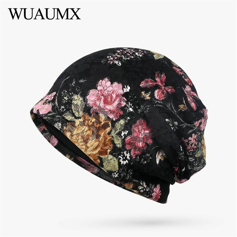 Wuaumx Fashion Spring Summer   Beanies   Hats For Women Lace Print Hedging Cap Double Layer   Skullies     Beanies   Cap For Girls Bonnet