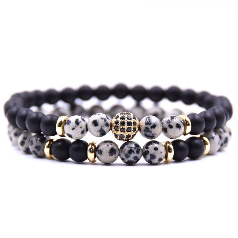 HYHONEY 2 pièce/ensembles pierre naturelle Bracelet hommes Micro pavé CZ 8mm Disco balle breloques Bracelets pour femmes hommes bijoux viking bijoux 4
