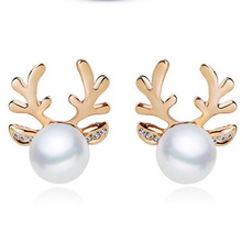 The 2016 New Fashion Cute Animal Antlers Deer Antlers Gold Silver Pearl Jewelry Rhinestone Stud Earring For Women