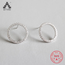 2019 Korea Hot Sale 925 Sterling Silver Earrings Micro Inlay Zircon Hollow Geometric Round Circle Stud Earrings lukeni personality designer style 925 sterling silver micro inlay zircon geometric circle earrings for women fashion jewelry
