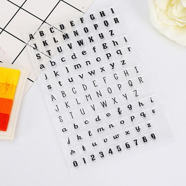 1 יחידות גומי חותמת אנגלית אלפבית סדרת סיליקון חותם אלבום תמונות ברורה עיצוב חותמת גיליונות DIY רעיונות מכתבים צעצועים