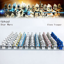 Star Wars White Clone Trooper Commander SW502 Clone Gunner SW221 SW910 SW492 compatible brick blocks toys 21pcs/lot(China)