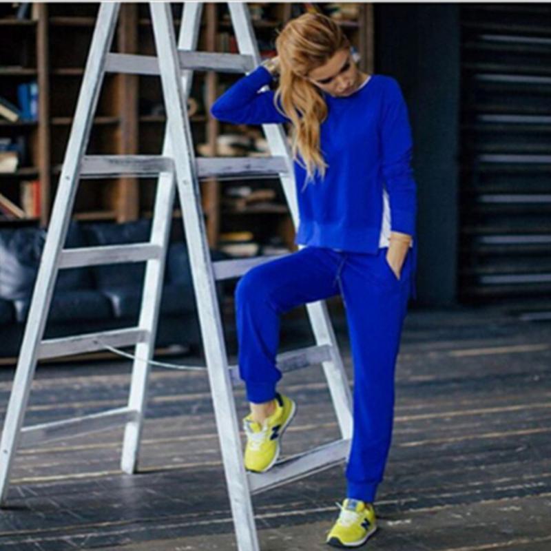4392857269cb 2017 Autunno Inverno Donna Cotone Tuta 2 Pezzo Set Solido Abbigliamento  Sportwear Tuta Donna