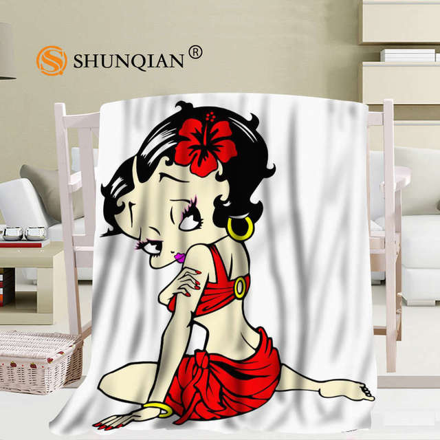Custom Betty Boop Cartoon Blanket Soft Fleece Diy Your Picture Decoration Bedroom Size 58x80inch 50x60inch
