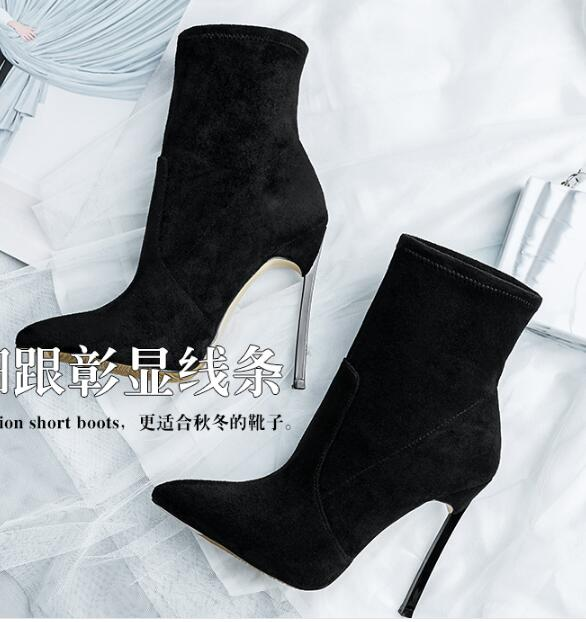 New comfortable suede pointed toe high-heeled sexy stretch short woman boots spike high heel woman ankle boots large size custom