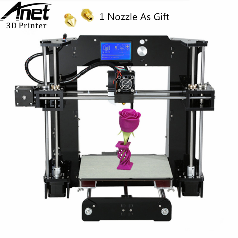 Anet A6 3D printer Upgraded Prusa i3 Quality 3D printer DIY Filament Kit Aluminum Hotbed LCD screen 16GB SD Card Easy Assembly