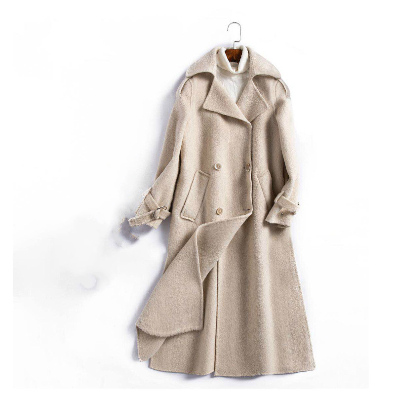 2018 autumn and winter new double sided cashmere coat original woolen coat female solid color long ladies woolen coat female-in Wool & Blends from Women's Clothing    1