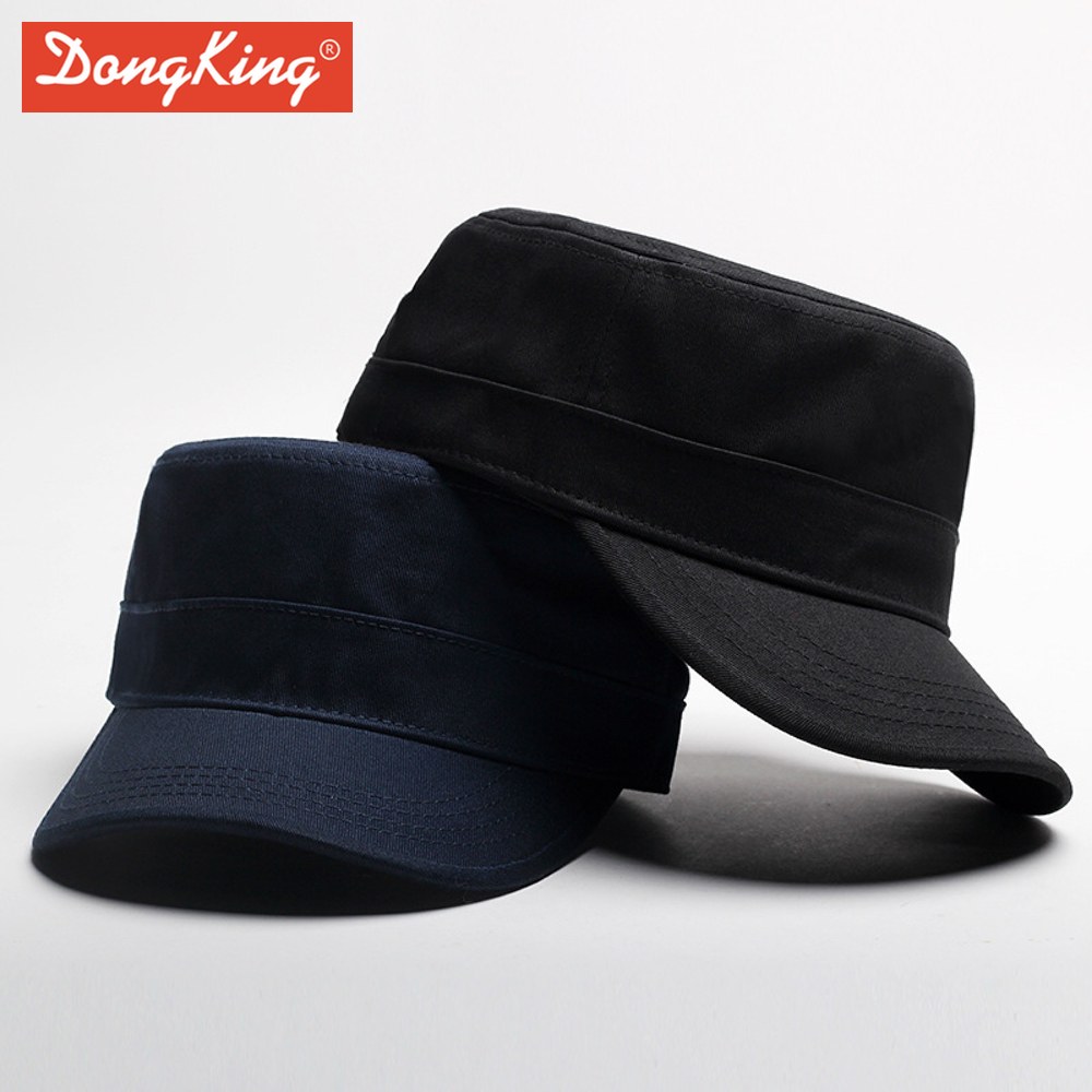 b3aee1936b852 DongKing New Army Flat Top Hats Solid Color Visor Hat Army Cadet Caps High  Quality Men Women Cap Adjustable ...