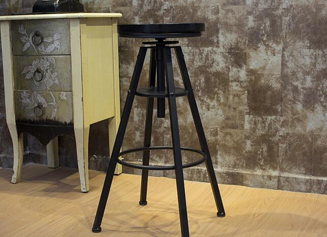 Bar stool. Black solid wood. Seat height adjustable. American style old bar chair..010Bar stool. Black solid wood. Seat height adjustable. American style old bar chair..010