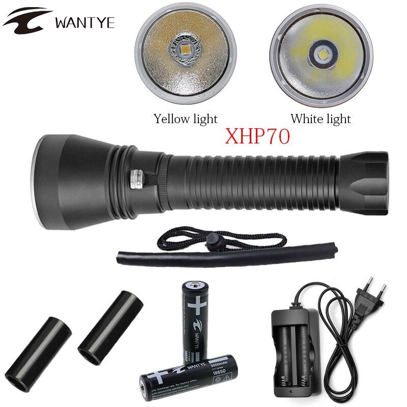 Мощный xhp70 Дайвинг фонарик 6000lm LED желтый/белый свет погружения факел Подводные 100 м 18650 или 26650 Водонепроницаемый Подводное факел
