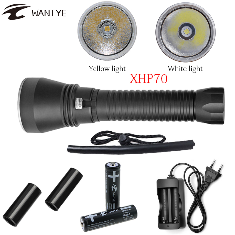 Powerful XHP70 Diving Flashlight 6000LM LED Yellow/White Light Dive Torch Underwater 100M 18650 or 26650 Waterproof Scuba Torch white purple yellow light led flashlight stainless steel torch 18650 rechargeable uv torch olight jade identification