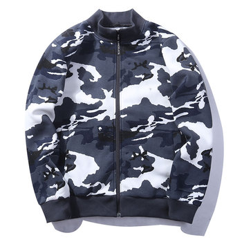 Fashion Male Designed Hoodies Long Sleeve Camouflage Hooded Jackets Coats Stand Collar Men Sweatshirt Embroidery Letter Logo