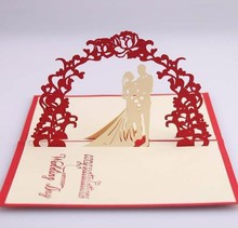 5 pcs Sweet handmade decoupage greeting card 3D Pop up cards Bride Groom card for wedding invitations heart card цены