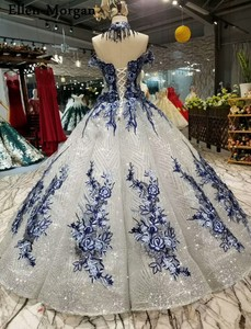 Image 4 - Silver Glitter Fabric Lace Ball Gowns Wedding Dresses 2019 Saudi Arabian Off Shoulder 3D Flowers African Black Girl Bridal Gowns