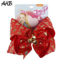 Cute Bell JOJO Bows 7 Large Hair Clips for Girls Hairgrips Santa Christmas Festival Party Kids Accessories