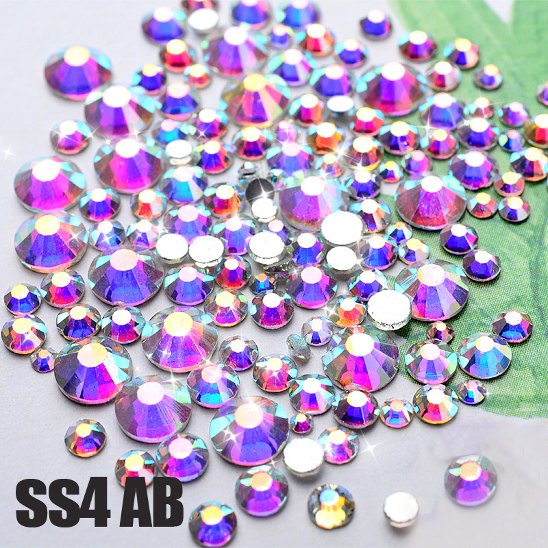 Crystal AB Nail Art Rhinestones, 1440pcs / lot SS4 DMC Glitter Жоғары сапалы Flatback түзетілмейді DIY Garment Tail Decoration Tool