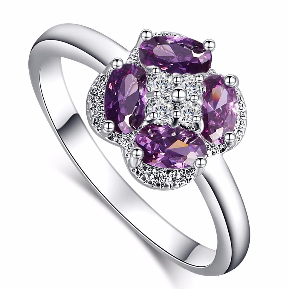 wholesale white gold color purple purple jewelry cz diamond wedding rings for women engagement bijoux accessories - Purple Diamond Wedding Ring