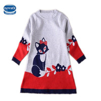 Baby Girls Clothes Lovely Long Sleeves Dresses For Girls Kids Clothes Cute Fox Floral Children S