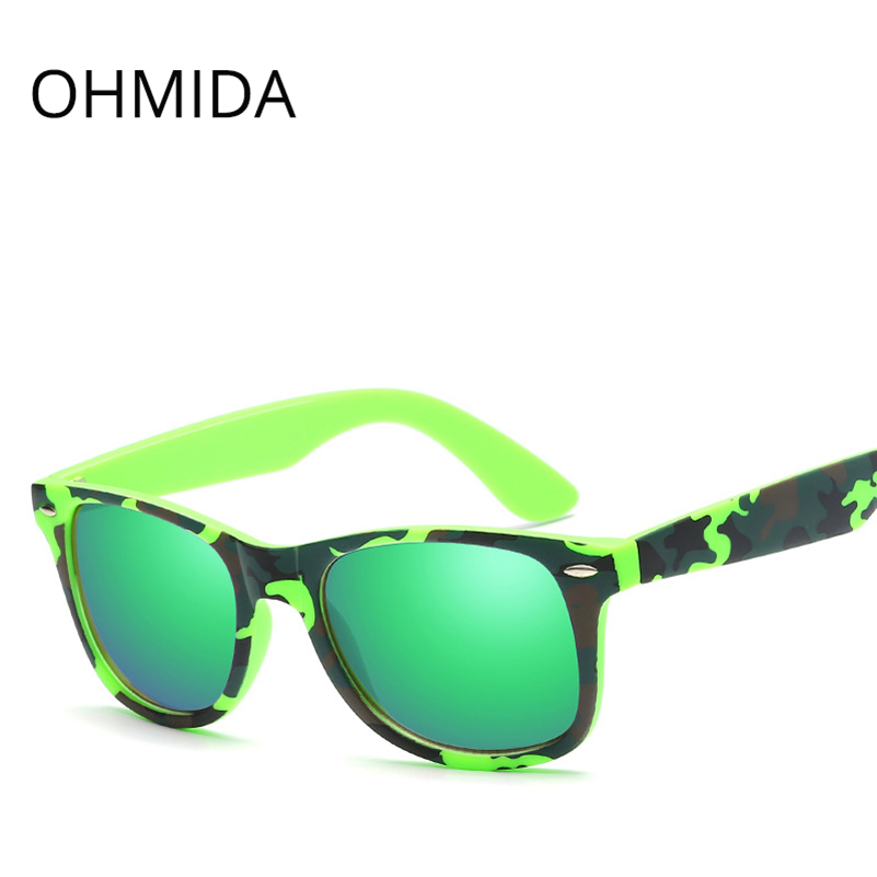 OHMIDA Fashion Sunglasses Women Brand Designer Black Frame Sun Glasses Vintage Green Color Mirrors Driving Sunglasses For Women