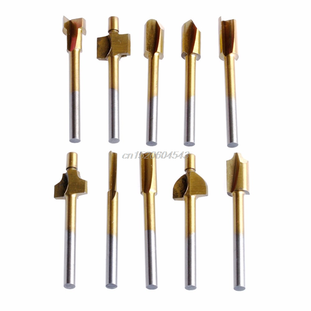 10Pcs/Set 3mm Titanium Mini Hss Router Bits Trimmer Shank For Dremel Rotary Tool New R06 Drop Ship 10pcs set brass drill chucks collet bits 0 5 3 2mm 4 3mm shank for dremel rotary tool