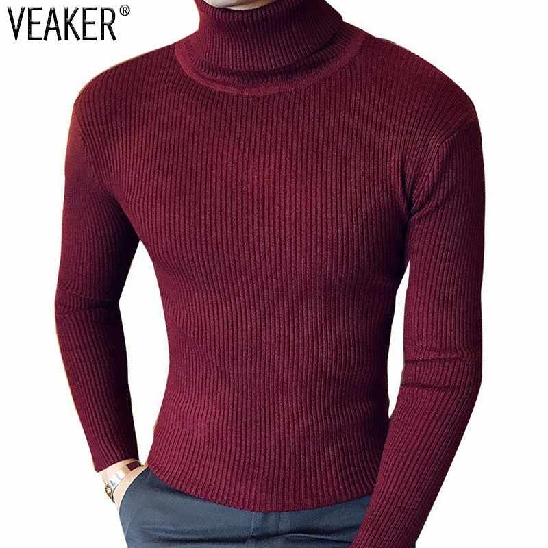 2018 Autumn Men's Turtleneck Sweaters Pullover Male Winter Slim Fit Sweater Black Gray High Neck Knitted Pullovers Knitwear 2XL