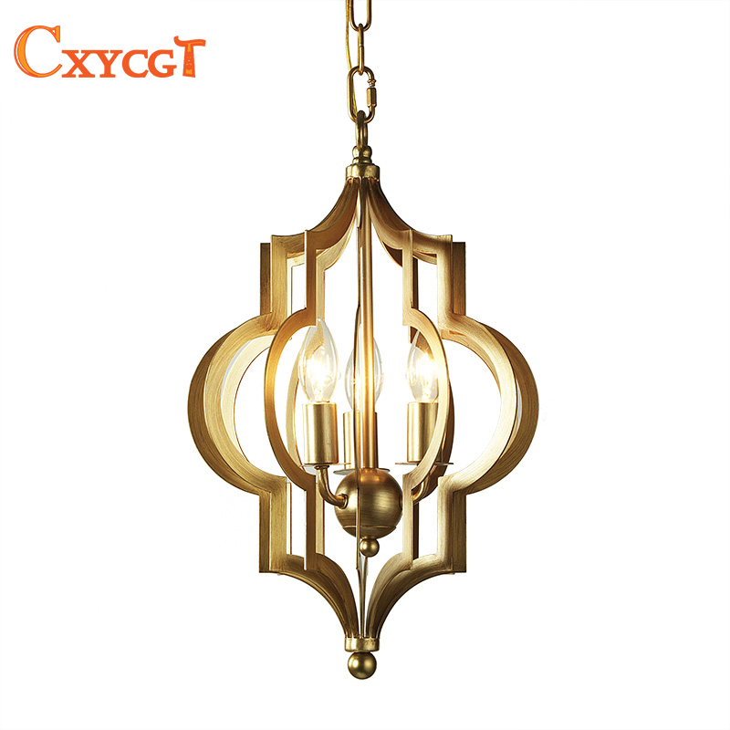 American Style Gold Iron Pendant Light fixture for Dining Room Kitchen Island Living Room Pendant Lamp Nordic Hanging Lamp modern wicker pendant light bird cage hand knitting pendant hanging dining room lamp american style for living room lighting
