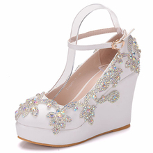 White Platform Wedges Shoes Pumps Women High Heels Round Toe Wedge Pumps Wedding Bridal Crystal Rhinestone Shoes XY-A0308 цена 2017