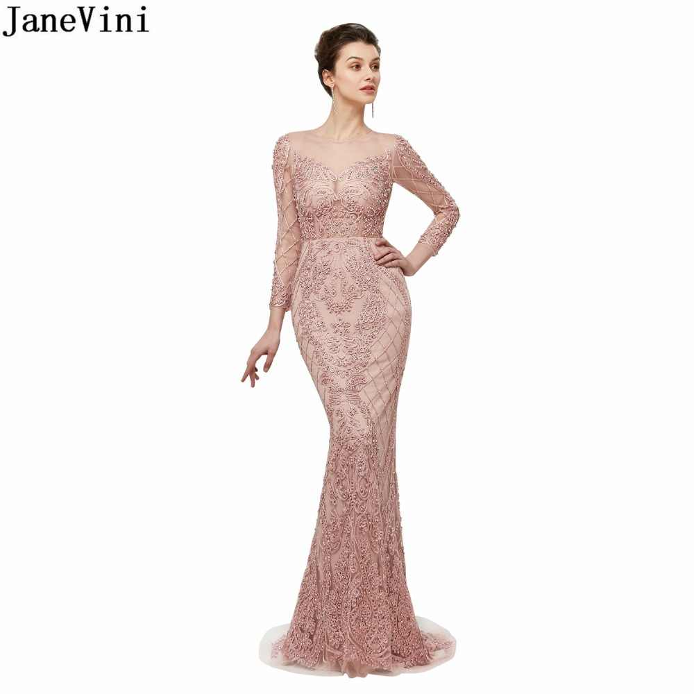 JaneVini Luxury Mermaid Mother of The Bride Dresses Lace Long Sleeve Beading Illusion Back Tulle Sweep Train Evening Party Gowns