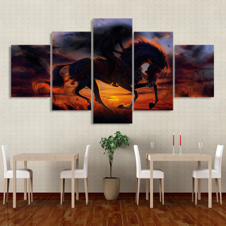 Frame Living Room Home Wall Art Pictures HD Printed 5 Panel Sunset Horse Animal Modern Painting On Canvas Decoration Posters
