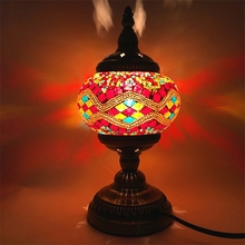 купить Vintage Turkish Mosaic Lamps Living room Bedroom Table Home Decor stained glass lamp Handmade Glass Lampsahde table lamp tiffany дешево
