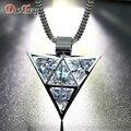 DuoTang Mujeres Collar Plateado Cadena de Eslabones de Metal de Aleación de Zinc Triángulo Cubic Zirconia Collares y Colgantes Para Las Mujeres Joyería