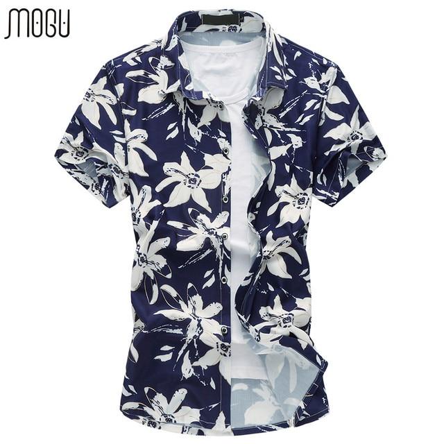 cf55a2f1c507 MOGU Short Sleeve Hawaiian Shirt Slim Fit 2017 Summer New Arrival Fashion  Floral Print Men s Dress Shirts Plus Size Men s Shirt