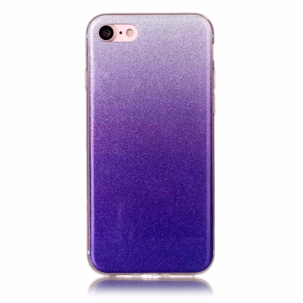 free shipping 94ab6 35ce3 US $4.98  Glitter Case For iPhone 7 Coque Purple Phone Cover For iPhone 7  Soft TPU Phone Shell Size Optional-in Fitted Cases from Cellphones & ...
