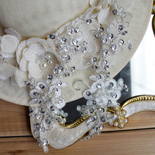 Beaded Lace Applique Sequins Venice Embroidered Appliques For Headbands Wedding Belt Dresses Bling 21x8.5cm