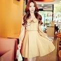 Dabuwawa long sleeve camel blouse dress
