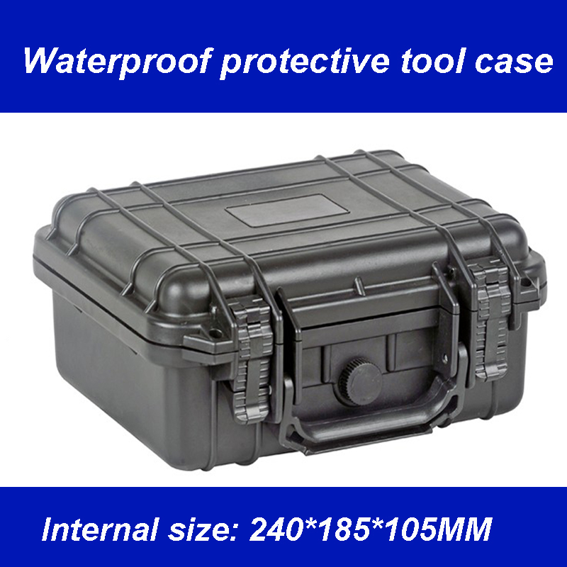Waterproof Tool Case Toolbox Protective Camera Case Instrument Box Suitcase Impact Resistant With Pre-cut Foam 240*185*105 MM