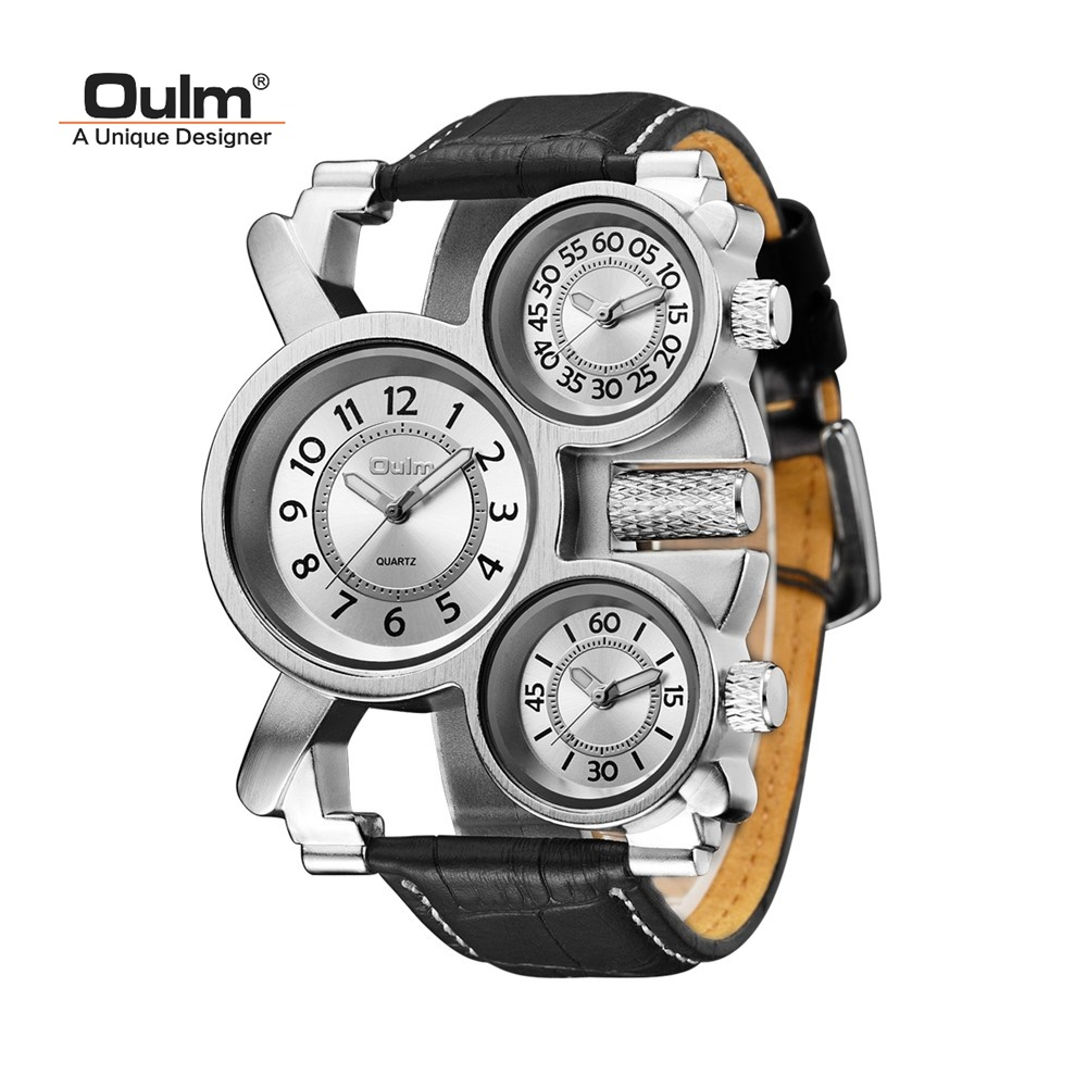 TEAROKE Oulm Mens Watches Military Quartz Watch Male Wristwatch Clock Top Luxury 3 Small Dials Leather Strap stainless steel oulm 3597 male quartz watch dual movt multifunctional wristwatch