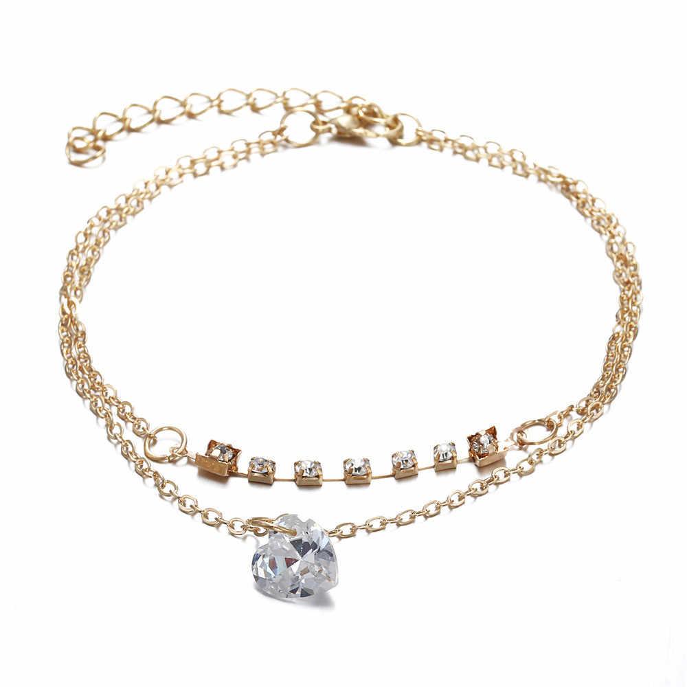Élégant Bracelet sauvage 1PC cristal strass femmes métal Bracelet de cheville chaîne or argent dame de haute qualité cadeaux de luxe L0330