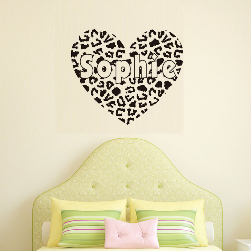 DCTOP Personalized Cheetah Print Heart Personalized text Vinyl Wall Decal  Sticker nursery living room decoration removable