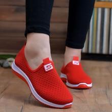 Женские кроссовки из дышащего сетчатого материала размера плюс; коллекция года; сезон весна-лето; слипоны на платформе; мягкая прогулочная обувь;#3