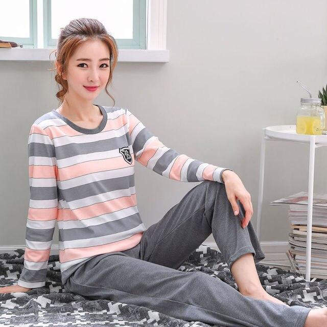 2018 נשים פיג 'מה סטי סתיו החורף חדש נשים פיג כותנה בגדים ארוך חולצות סט נשי פיג סטים NightSuit אמא שינה