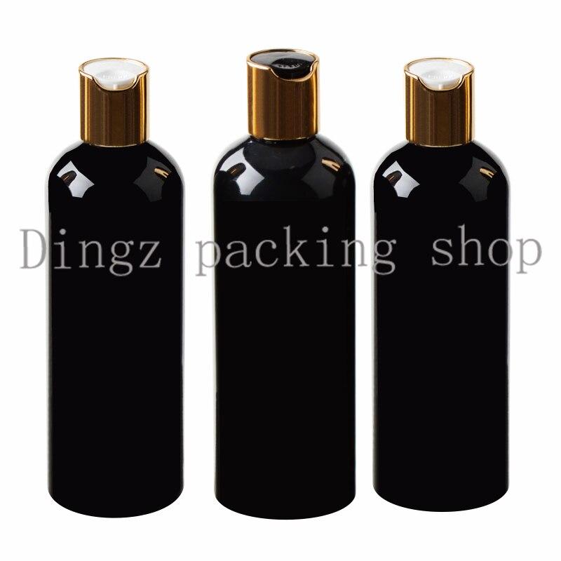 30 sztuk 300 ml Disc top Cap czarna butelka pusta plastikowa butelka PET balsam butelka podróży rozmiar plastikowe puste butelki na szampon w Butelki wielokrotnego użytku od Uroda i zdrowie na  Grupa 1