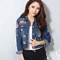 2016 Autumn New Brand Fashion Jeans Women Basic Coats Long Sleeve Turn Down Collar Hole Button Slim Jacket  Coat LQ061