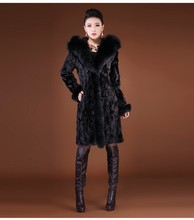Female Thick Warm Fur OverCoat  with Hoodies Women Fake Mink Hair Long Sleeve Winter Outerwear