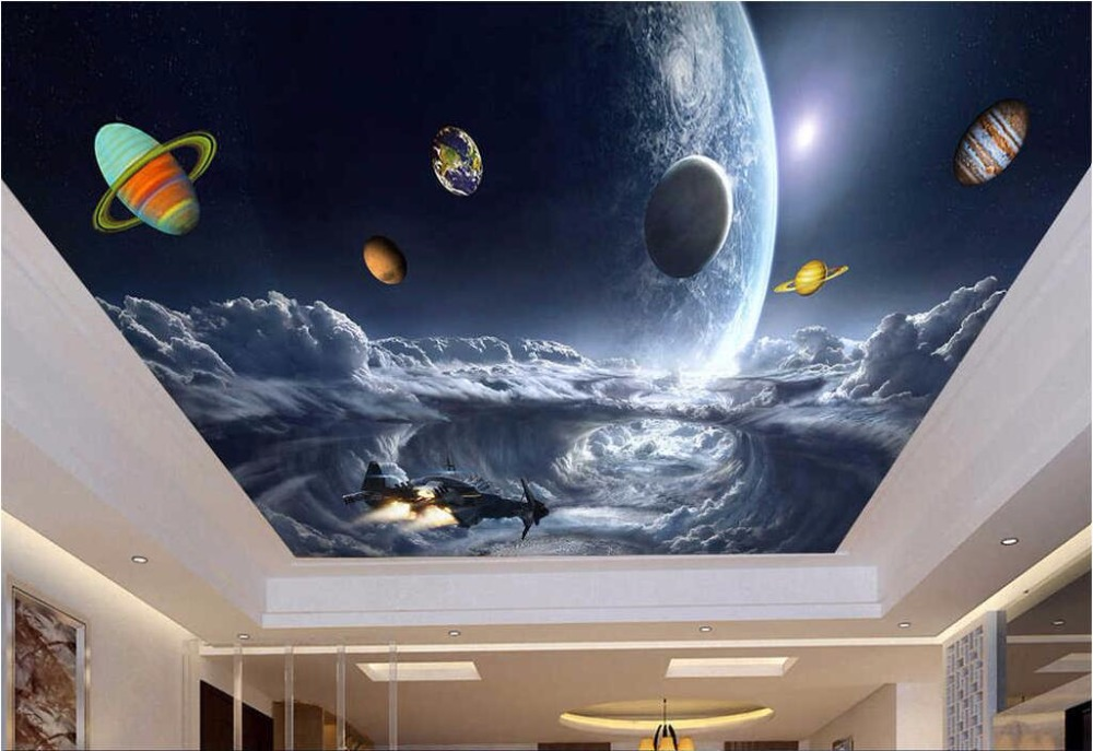Custom photo 3d ceiling murals wallpaper decor painting Space star galaxy living room 3d wall murals wallpaper for walls 3 d 3d wall murals wallpaper for living room walls 3 d photo wallpaper sun water falls home decor picture custom mural painting