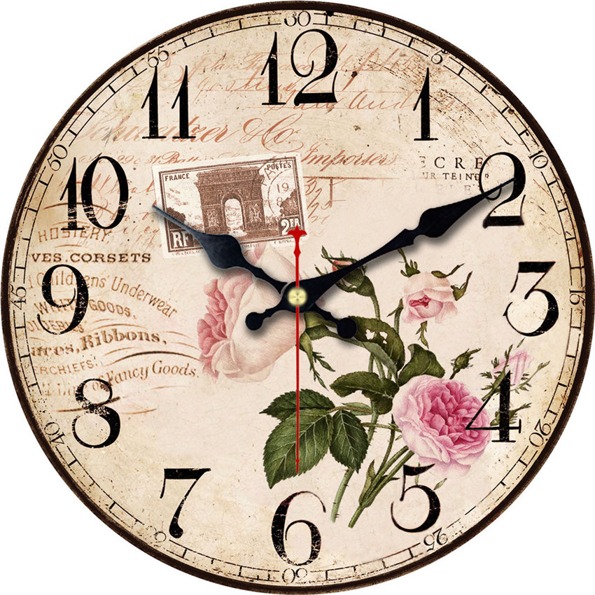 elegant flowers decorative wall clock lovely design fashion silent living room wall decor saat. Black Bedroom Furniture Sets. Home Design Ideas